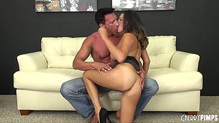 Mighty lover provides the sexy brunette with a fully erected cock