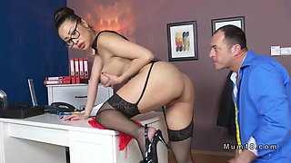 busty asian milf tailor fucks in office