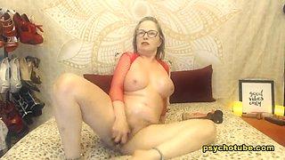 Mature Blonde Punges Dildo Inside Her Live