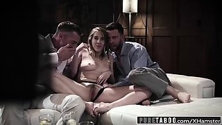 Pure taboo babe tricked into revenge 3some with strangers!