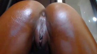 Horny black colombian babe showing off her big & pink cunt
