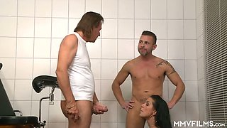 Too emotional busty Texas Patti is fed with sperm by two studs