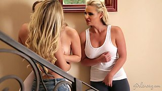 Voluptuous yoga instructor Jessa Rhodes is fucking two sexy babes on the stairs