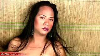 dream filipino t-girl caresses her curvy body and shecock