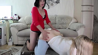 Hard fucking doggystyle with a strapon