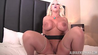 Curvy blonde beauty Alura Jenson enjoying a thin long wiener