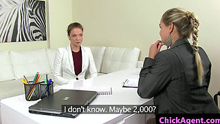 Lesbian agent pussylicked by casting babe