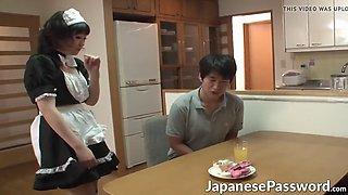 Beautiful Japanese maid masturbates her love tube all alone