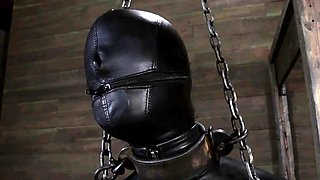 Gagged and tied up slave is being gratified with sex-toy