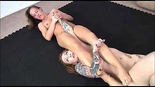 Sexy Lesbians Erotic Showdown in Academy Wrestling