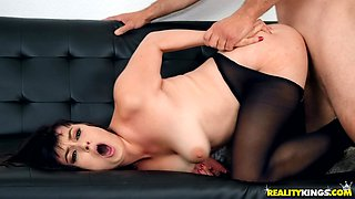 Sweet Nova Caine gets talked into jumping on a monster shaft