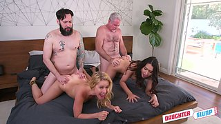 Unforgettable foursome sex with two sex-appeal and insatiable stepdaughters