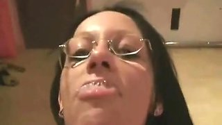 Sexy brunette chick with glasses enjoying to suck the big dick