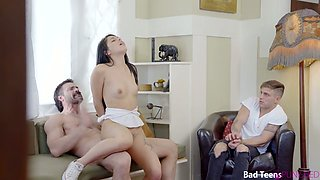 Strict stepdad spanks and fucks naughty Gina Valentina in front of her boyfriend