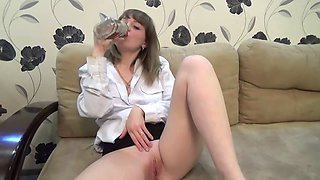 Drunk natali coming home and cuming