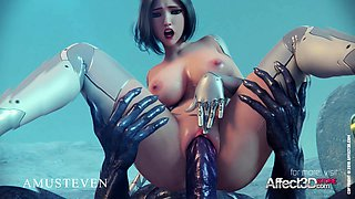 Big Tits Angelita fucked hard by a monster in a 3d animation