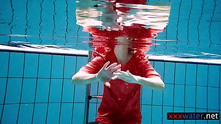 Avenna enjoys swimming in the pool