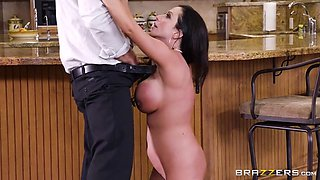 Hot black haired milf cheats on her husband while he's there