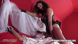 Femdom bondage anal fucking toying her sissy bride slut