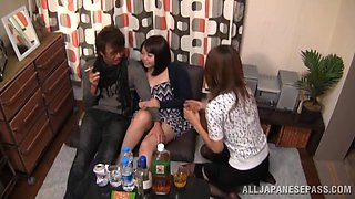 Drunk Brunette in panties gets her kitty teased in Threesome