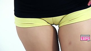 Big Ass Teen Teasing Cock. Natural Tits, Cameltoe Pussy, Hot