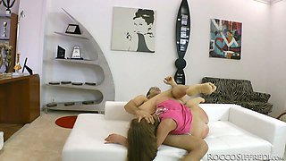 Awesome and too voracious blondie gets her quim hammered doggy on the sofa