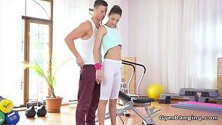 teen in white leggings fucks at gym