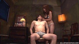 Asian dominatrix sucks off her stud then rides him till orgasm