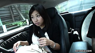 Cute Asian brunette teen fingered after blowing in the car