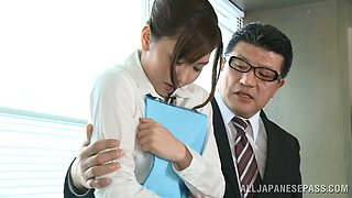 Shy Japanese assistant getting gangbanged at the office in a reality shoot