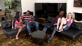 Haley Scottand Jada Fire are involved in an interracial foursome and swallow cum