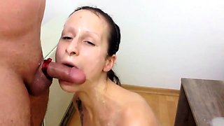 Provoking brunette gets fucked rough and covered in hot jizz