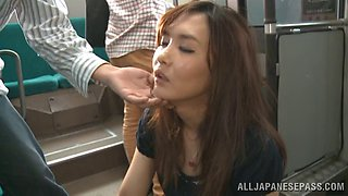 Pretty japanese redhead chick Nono Mizusawa sucks dick in public