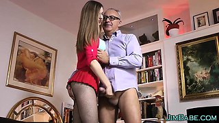 Teen guzzles old guys cum