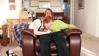 Young hot redhead girl gives blowjob