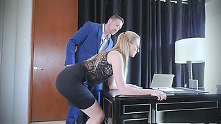 Hot blonde plays a bad girl at the office and gets spanked