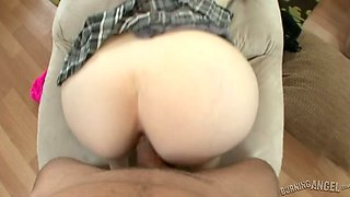 Pink haired saucy bitch blows sweet penis on POV camera