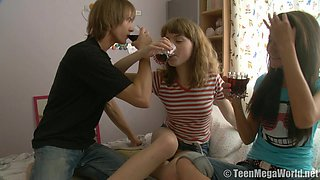 Hotties Ilina and Aglaya get naked with a dude and have sex