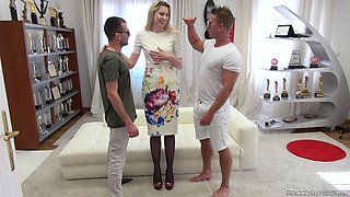 Two throbbing boners and a facial for salacious Milena Devi