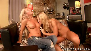 Cristal May and Ivanka moan sweetly while playing with each other's vags