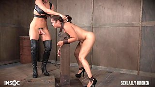 sex slave plowed by the mistress's big cock